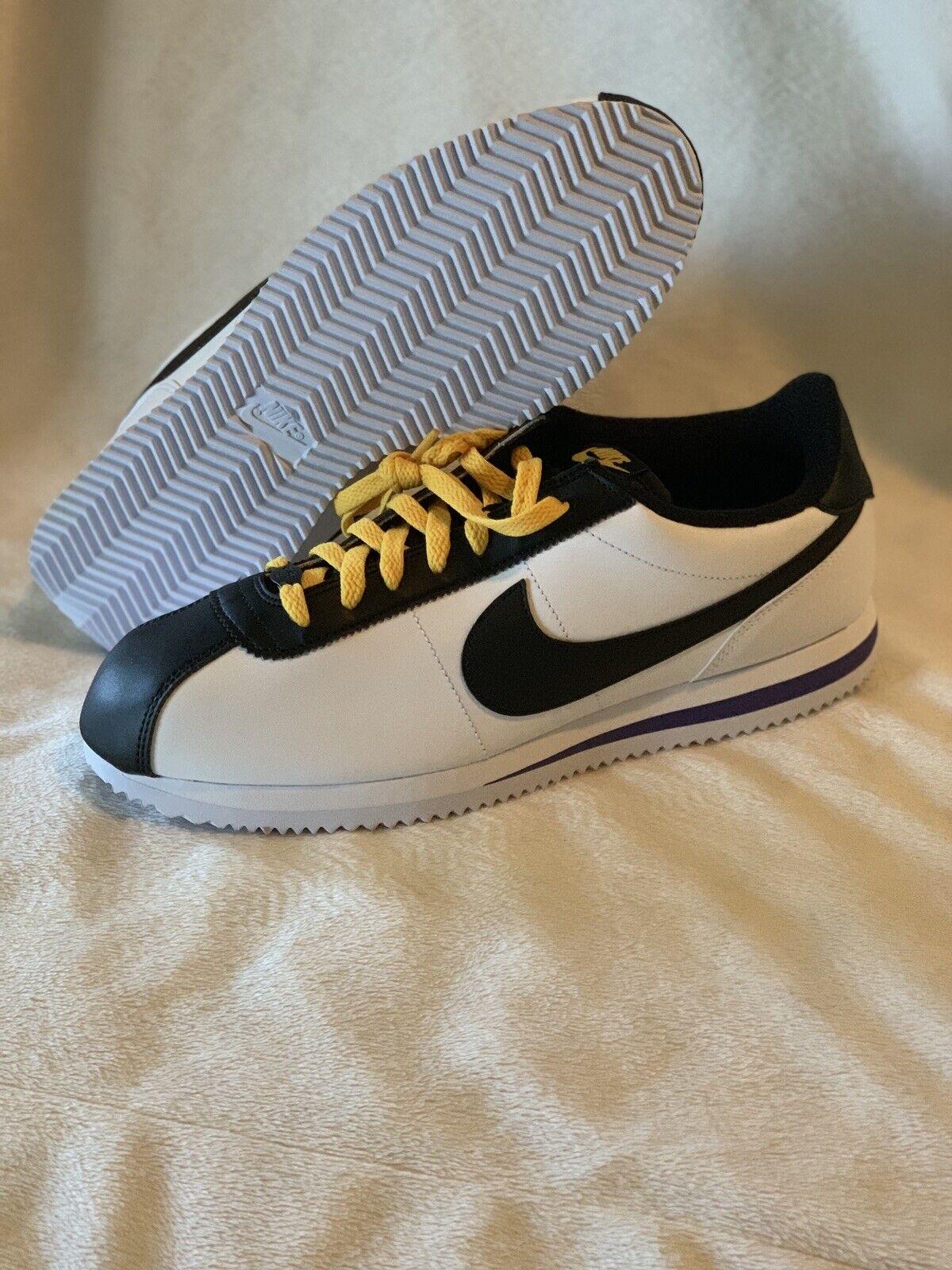 Nike Cortez Leather yellow White black Purple BV2527-100 Men Size 11.5 Lakers