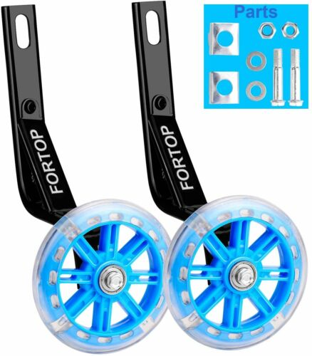 Bicycle Training Wheels Heavy Duty Rear with Stabilizers Mounted Kit Blue 14 in