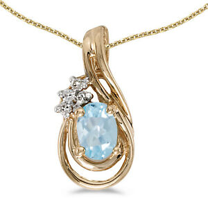14k-Yellow-Gold-Oval-Aquamarine-And-Diamond-Teardrop-Pendant-no-chain