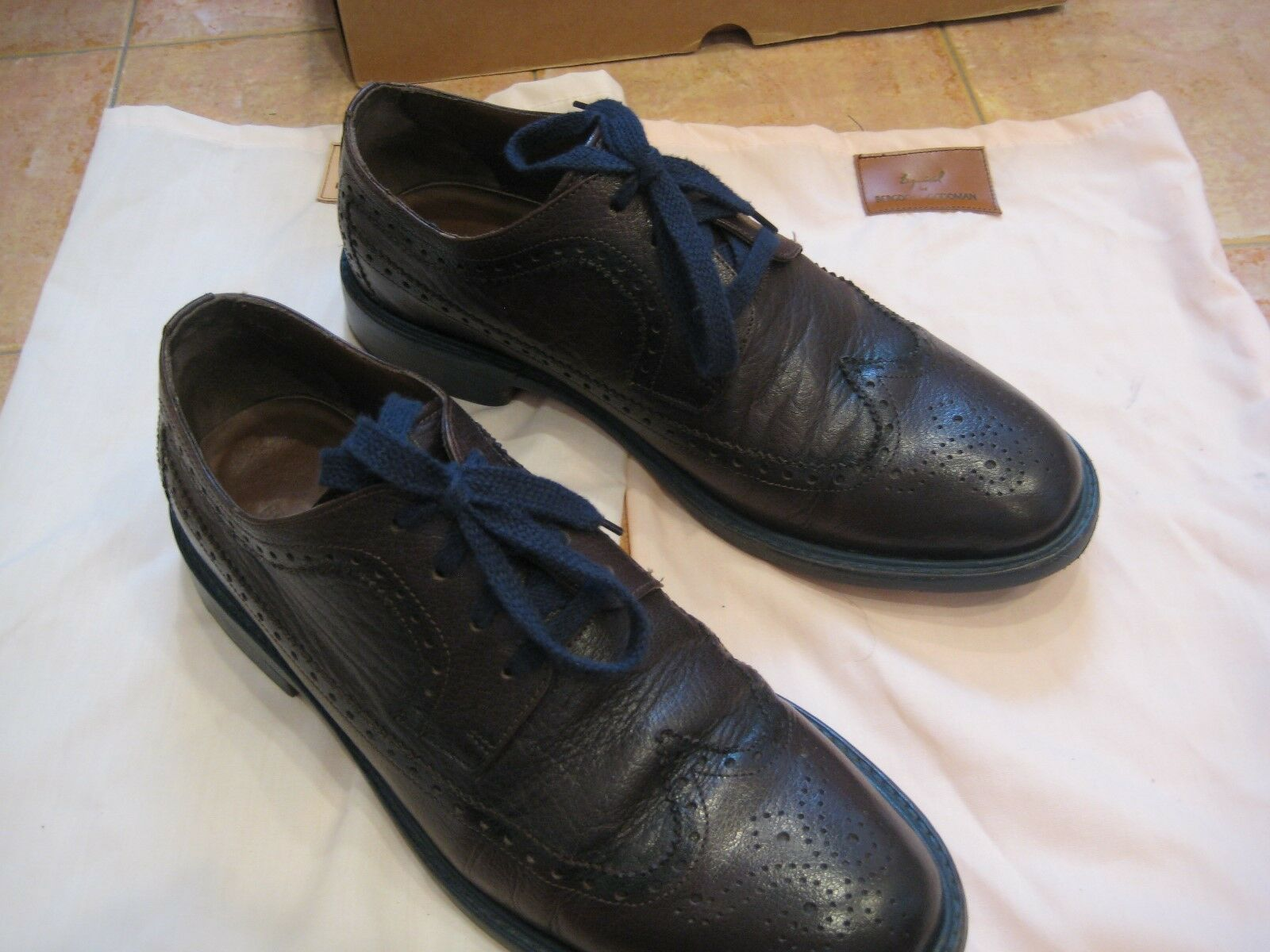 Esquivel for Bergdorf Goodman brown leather wingtips with blue painted soles 9
