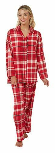 Ladies 100/% Brushed Cotton Long Sleeved Red Check Pyjamas 8-10 to 24-26