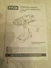 Original Ryobi 12 Inch 18 Volt Hammer Drill 2 Speed P211 Operators Manual