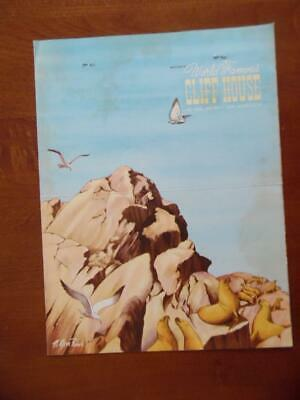 1957 Whitney's Cliff House Restaurant Menu Seal Rocks San Francisco Ca Vintage
