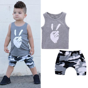 2pcs Summer Toddler Kids Boys Baby Hooded T-shirt Top Clothes Pants Outfit Set