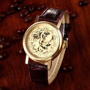 Luxus-Hrren-hohl-Skelett-Quarz-Uhren-Gelbgold-Edelstahl-Leder-Armbanduhren-Uhr