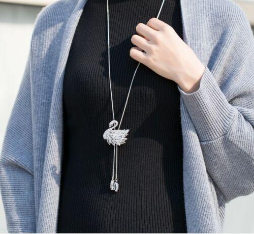 Luxus Silber Damen Mode Schmuck lange Kette mit Anhänger Zirkonia Schwan 75cm M9