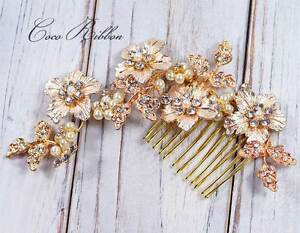 Gold Bridal Hair Comb Crystal Wedding Bridesmaid Flower Rhinestone Hair Pin E26