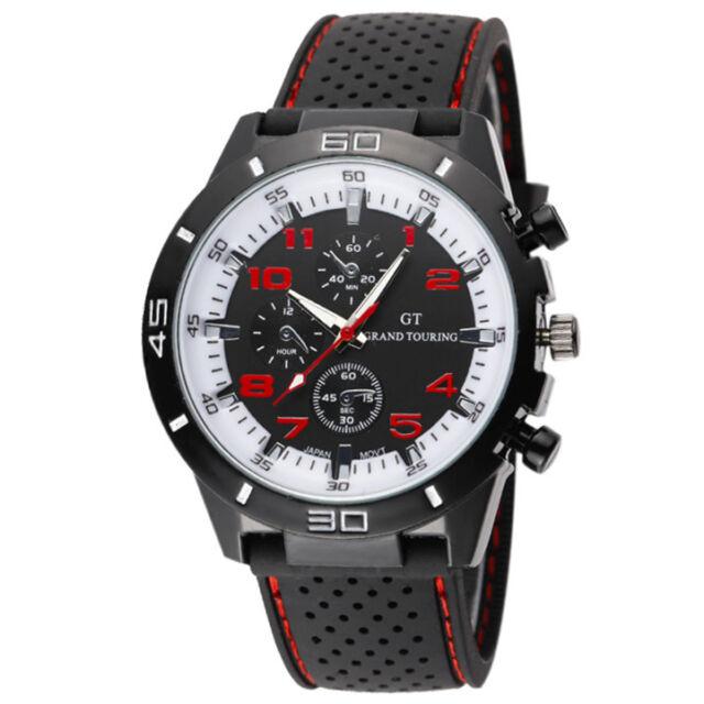 New Black Band Rugged Style Fashion GT Quartz Men Sport Wrist Watch Watches