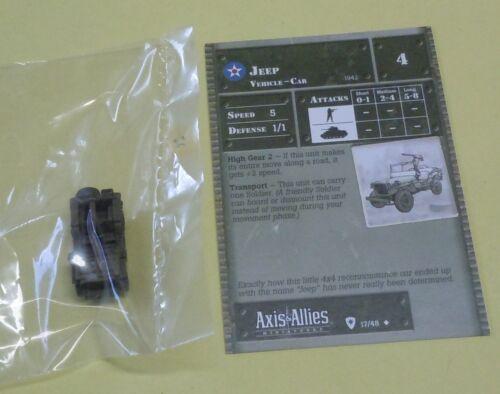 Axis /& Allies Miniatures Base Set Jeep #17//48 NEW A/&A Minis