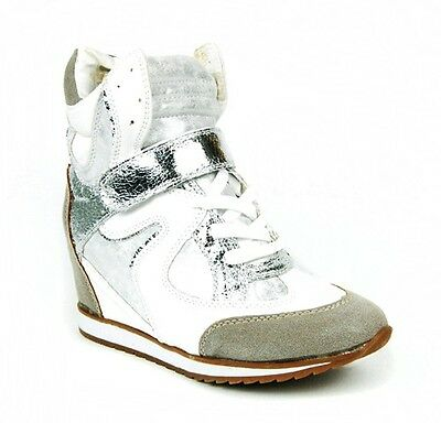 New Metallic Inset WHITE HIGH TOP LACE UP SILVER VELCRO Wedge Sneakers Shoes