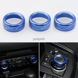 3X For Mazda CX-5 CX5 2017 2018 Blue Air Condition Knobs Decorative Circle Trim