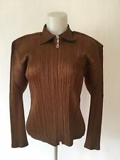 Issey Miyake Pleats Please BROWN GOLD Blouse Shirt TOP Zip Front Made Japan SZ 3