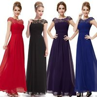 Long Chiffon Maxi Formal Lace Evening Party Gown Prom Bridesmaid Dress Size 6-18