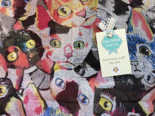 EDWIN CAT MUSTARD /& BLACK SCARF SISTER MUM FRIEND GIFT WRAP PRESENT KITTEN CATS