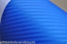 """2 ROLLS of 3D Top Grade BLUE  Carbon Fiber Vinyl 24"""" x 60""""  car Wrap"""