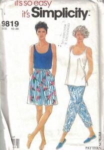 Simplicity-9819-Misses-Tank-Top-Pull-Pants-Bermuda-Length-Shorts-Size-10-20