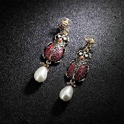 Boucles d/'oreilles Doré Insecte Scarabée Perle Pavé Cristal Gris Noir XX32
