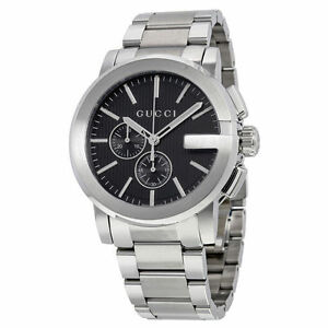 New-Gucci-G-Chrono-Chronograph-Black-Dial-Stainless-Steel-YA101204-Mens-Watch