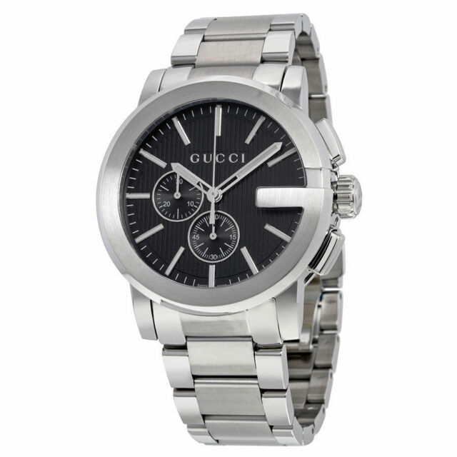 bda81f0c895 New Gucci G-Chrono Chronograph Black Dial Stainless Steel YA101204 Mens  Watch