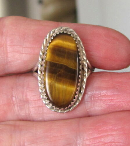 signed LB Vintage Navajo Sterling Silver and Tigers Eye Ring Lee Brown