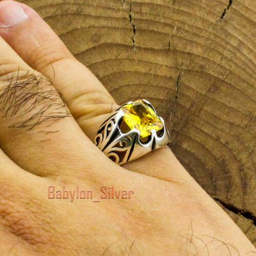 Turkish Handmade Jewelry 925 Sterling Silver Citrine Men/'s Luxury Ring All Sizes