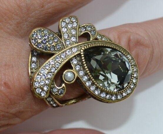 Heidi Daus Age of Elegance Hematite Pear Shaped Crystal Statement Ring Sz 12.25