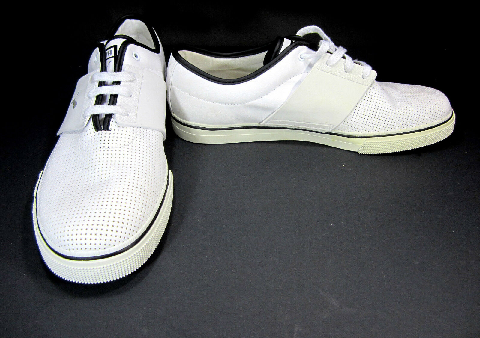 Puma Shoes El Ace Leather Perforated White/Black Sneakers Comfortable Wild casual shoes