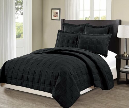 Fancy Linen 3pc Oversize Target Quilted Embroidery Solid Black Bedspread New