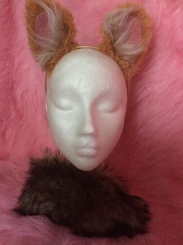 Corgi Ears And Tail Luxury Fake Fur Tan Gold Dog Fancy Dress Ears /& Clip On Tail