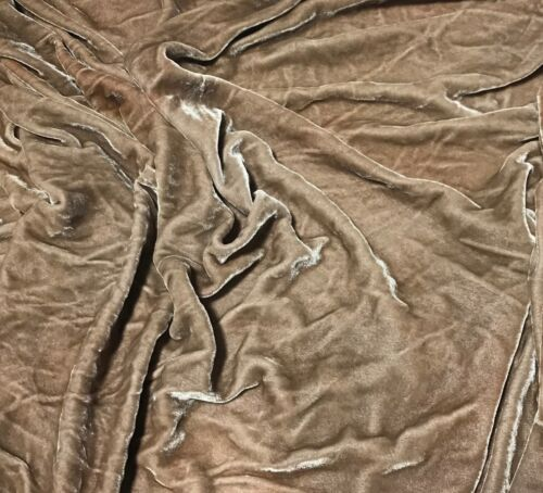 Hand Dyed TAUPE BROWN Silk VELVET Fabric
