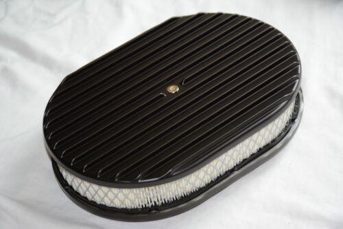 """12/"""" BLACK Aluminum Nostalgia Full Finned Oval Air Cleaner street rod filter"""