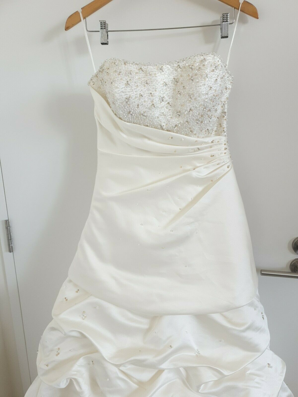 Mori Lee by Madeline Gardner ivory sweetheart beaded satin wedding dress 12