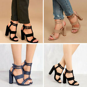 Womens-Ladies-Mid-High-Block-Heel-Sandals-Gladiator-Summer-Strappy-Shoes-Sizes
