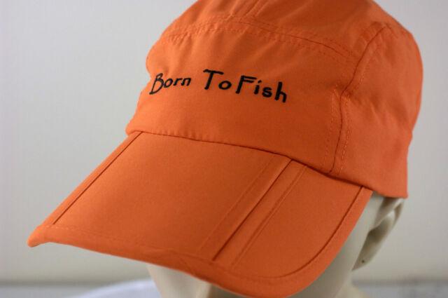 Born To Fish Fishing folding ball hat/cap secret pocket UNIQUE - Orange