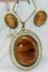 West-German-Agate-Tiger-Eye-Lucite-Ornate-Pendant-amp-Clip-Earrings-w-Faux-Pearls
