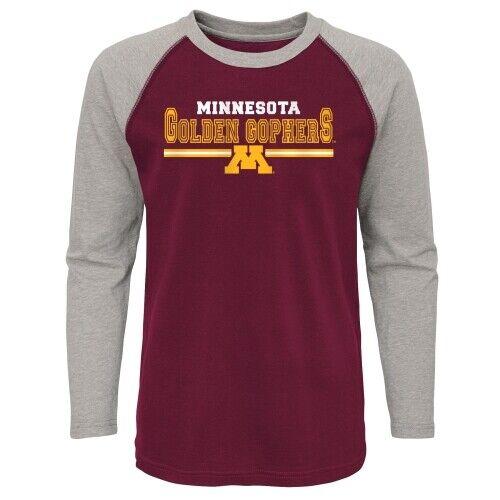 Details about  /Outerstuff NCAA Youth Minnesota Golden Gophers Varsity Block Raglan Tee