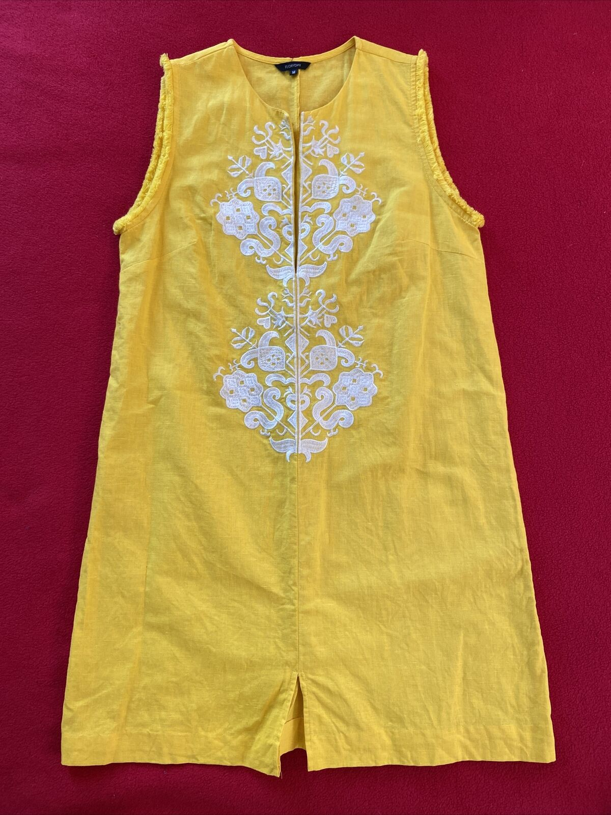 floryday bright yellow linen shift dress size med… - image 1