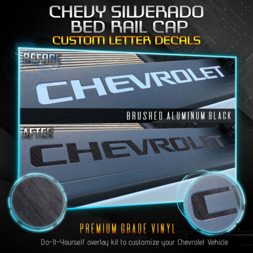 For Chevy Silverado 14-18 Rear Bed Rail Letters Vinyl Decal Set Brushed Aluminum