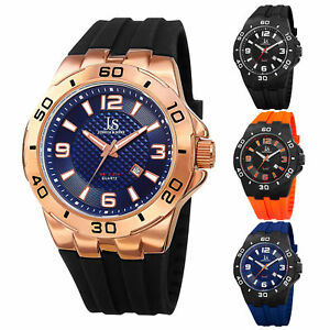 Men-039-s-Joshua-amp-Sons-JX115-Quartz-Date-Sporty-Silicone-Strap-Watch