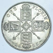 RARE KEY DATE, 1925 FLORIN, BRITISH SILVER COIN FROM GEORGE V