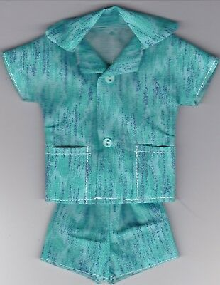 Homemade Doll Clothes-Pretty Turquoise Print Cabana Set fits Ken Doll C1