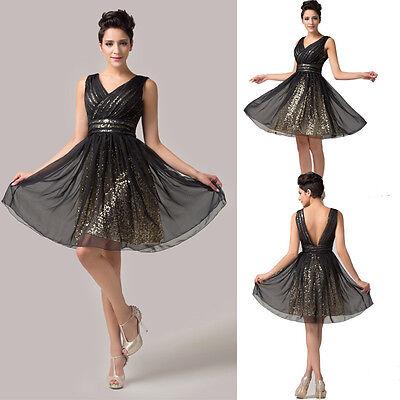 Short Bridesmaid Party Prom Formal Evening Short Ballgown Graduation Black Dress