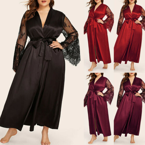 Details about  /US Women Satin Silk Nightdress Lace Lingerie Dress Robe Nightie Gown Plus Size