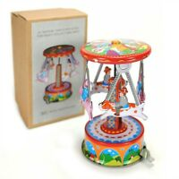 Tin Toy Carousel Pigs Dogs Merry Go Round Vintage Style Wind Up Lever Litho