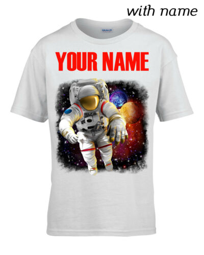 ASTRONAUT IN SPACE YOUR NAME Children // Kids T-Shirt DTG Personalized