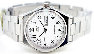 Casio-MTP-1240D-7B-Men-039-s-White-Analog-Steel-Band-Watch-Stainless-Date-Day-New