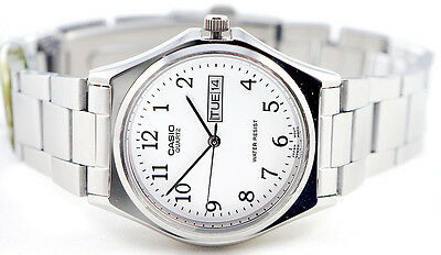 Casio MTP-1240D-7B Men's White Analog Steel Band Watch Stainless Date Day New