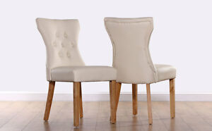 2 4 6 8 Bewley Ivory Leather Dining Room Chairs Oak Leg | eBay