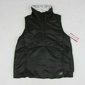New-Balance-Women-039-s-Black-Half-Zip-Warm-Vest-WV83130-Black-amp-Silver-Running