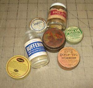 7-Small-Vintage-Medicine-Jars-Tins-Rose-Vel-Poslam-Coucura-Unguetine-More